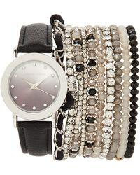 Adrienne Vittadini - Adst1711 Silver-Tone & Black Watch & Bracelet Set - Lyst