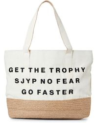 SJYP Ivory Get The Trophy Canvas Tote - White