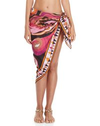 Emilio Pucci - Blue Printed Wrap Cover-up Skirt - Lyst