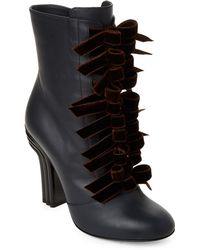 d40a4eacf5fa Marco De Vincenzo - Elephant Velvet Bow Leather Ankle Boots - Lyst