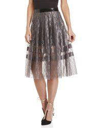 Philosophy Di Lorenzo Serafini - Pleated Lace & Patent Faux Leather Midi Skirt - Lyst