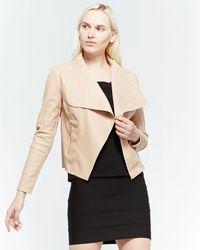 Bagatelle Open Faux Leather Jacket - Natural