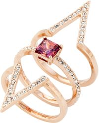 f57d9bf186822 3-piece Rose Gold-tone Funk Ring Set Size 6 - Pink