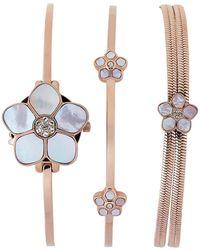 Anne Klein - Ak 3174 Rose Gold-tone Floral Watch & Bracelet Set - Lyst