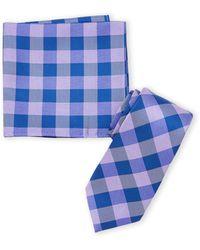 Nautica Purple Check Tie & Pocket Square Set