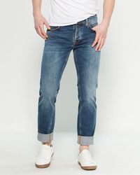 Nudie Jeans Blue Halo Grim Tim Slim Straight Jeans