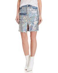 Mustard Seed - Sequin Distressed Denim Skirt - Lyst