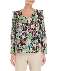 Sioni - Floral Ruffle Sleeve Blouse - Lyst