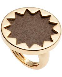 House of Harlow 1960 Gold-Tone & Khaki Sunburst Ring Size 8 - Metallic