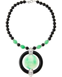 Kenneth Jay Lane - Black & Jade-tone Beaded Necklace - Lyst
