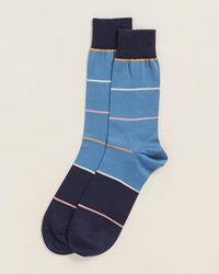 Thomas Pink Daube Stripe Print Socks - Blue