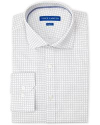 Vince Camuto - Navy Square Print Slim Fit Dress Shirt - Lyst
