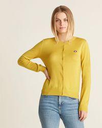 Le Mont St Michel Poodle Patch Button Cardigan - Yellow