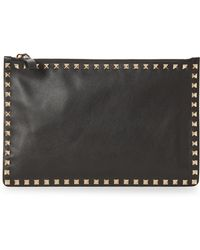 Valentino - Valentino Large Rockstud Pebbled Leather Pouch - - Lyst