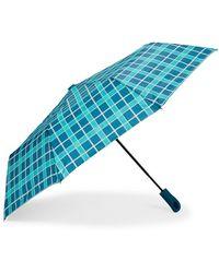 Nautica Teal Plaid Auto Open Umbrella - Blue