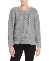 Cliche Beaded Cable Knit Sweater - Gray