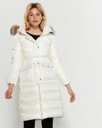 Add Black Real Fur-trimmed Belted Down Coat - Multicolor