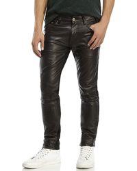 Avelon Black Popshop Faux Leather Front Jeans