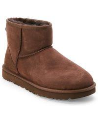 UGG - Chocolate Classic Real Fur Mini Boots - Lyst