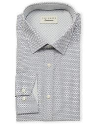 Ted Baker Endurance Block Tile Long Sleeve Dress Shirt - Gray
