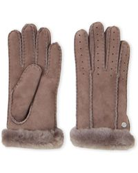 UGG - Classic Perforated Real Fur Shearling Gloves - Lyst