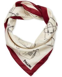 Pollini Printed Silk Scarf - Natural