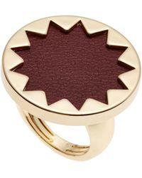 House of Harlow 1960 Gold-Tone & Cranberry Sunburst Ring Size 9 - Multicolor