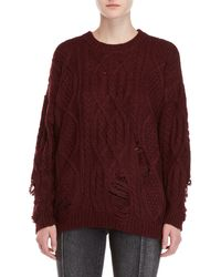 Lush - Distressed Cable Knit Sweater - Lyst
