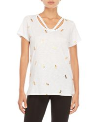Marc New York - White Gold Pineapple Strappy Tee - Lyst