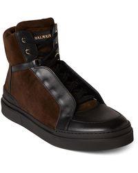 Balmain Suede High-top Sneakers - Brown