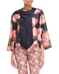 Dolce & Gabbana - Navy Floral Silk Cocoon Cape - Lyst