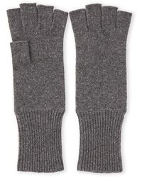 Portolano Cashmere Fingerless Gloves - Gray