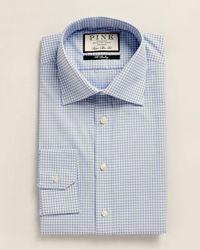 Thomas Pink Super Slim Fit Greenwood Plaid Dress Shirt - Blue