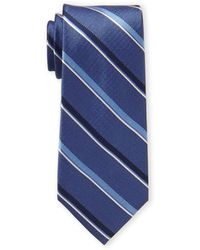 Tommy Hilfiger - Blue Classic Stripe Silk Tie - Lyst