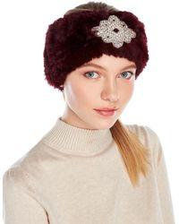 Surell - Embellished Real Rabbit Fur Headband - Lyst