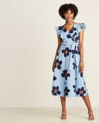 Kate Spade Blue Heron Grand Flora Poplin Midi Dress