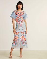 Temperley London - Floral Flare Sleeve Silk Maxi Dress - Lyst