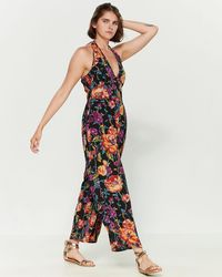 Band Of Gypsies - Billy Floral Print V-neck Jumpsuit - Lyst