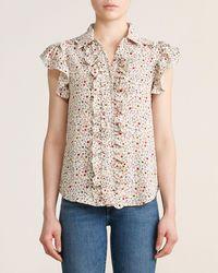 Gracia Floral Print Ruffle Sleeve Collared Top - Natural