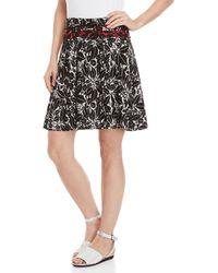 Max Studio Printed Jersey Tulip Skirt - Black