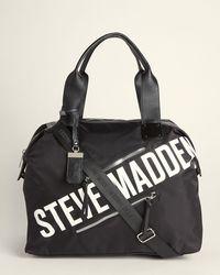 Steve Madden Black & White Logo Weekender Bag