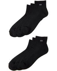CALVIN KLEIN 205W39NYC 6-pack Cushioned Quarter-cut Socks - Black