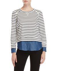 Fever Striped 2fer Sweater - Blue