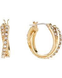 Lauren by Ralph Lauren - Gold-tone Twisted Hoop Earrings - Lyst