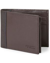 Guess - Brown Slim Bi-fold Wallet - Lyst