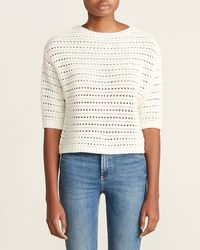 Magaschoni - Ivory Drop Shoulder Pointelle Sweater - Lyst