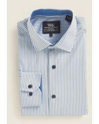 W.r.k. White & Blue Oxford Stripe Dress Shirt
