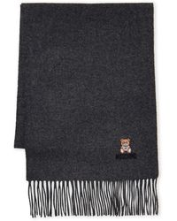 Moschino Bear Logo Wool Scarf - Gray