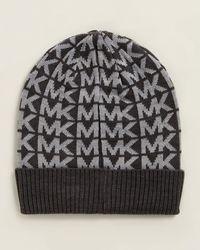 Michael Kors Linear Logo Cuff Beanie - Metallic