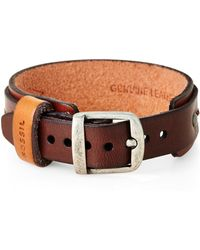Fossil - Stitched Leather Bracelet - Lyst